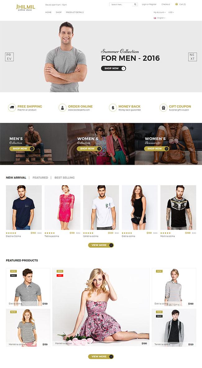 男女服装电商响应式网站模板