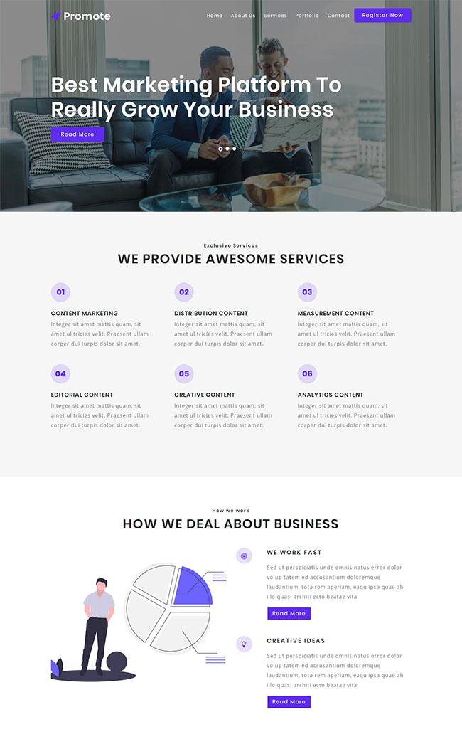 紫色营销公司官网网站模板