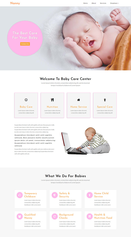 婴儿护理中心网站模板