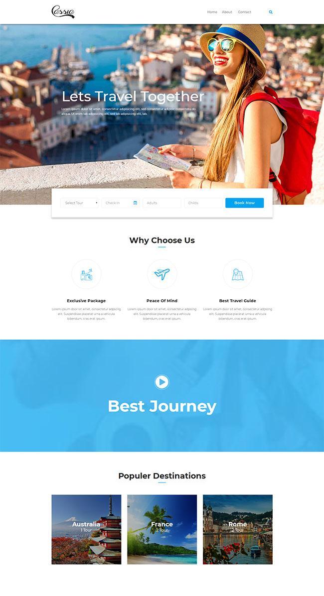 蓝色旅行社组团网站模板