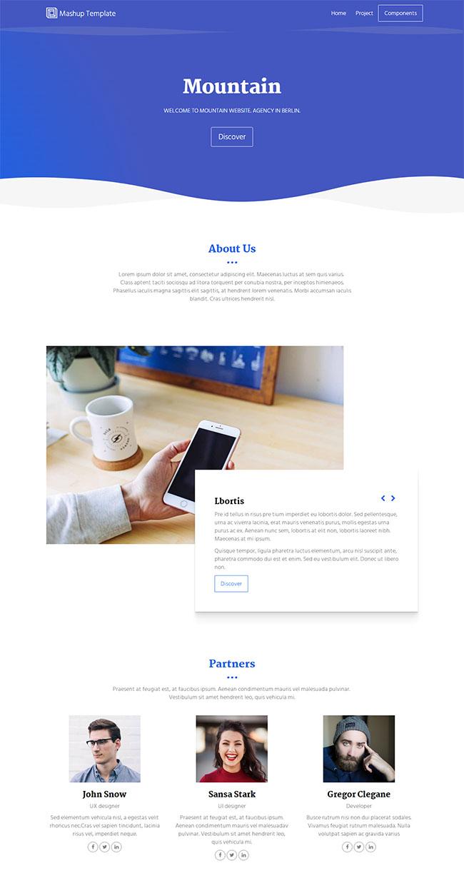蓝色大气波浪效果CSS3模板
