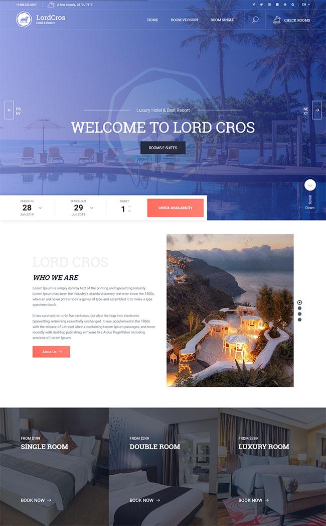 酒店度假村休闲HTML5模板