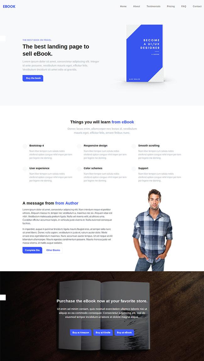 蓝色eBook电子书企业网站模板