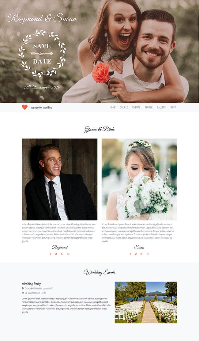 结婚请柬响应式婚礼网站模板