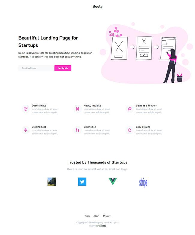 轻量化设计初创公司单页模板