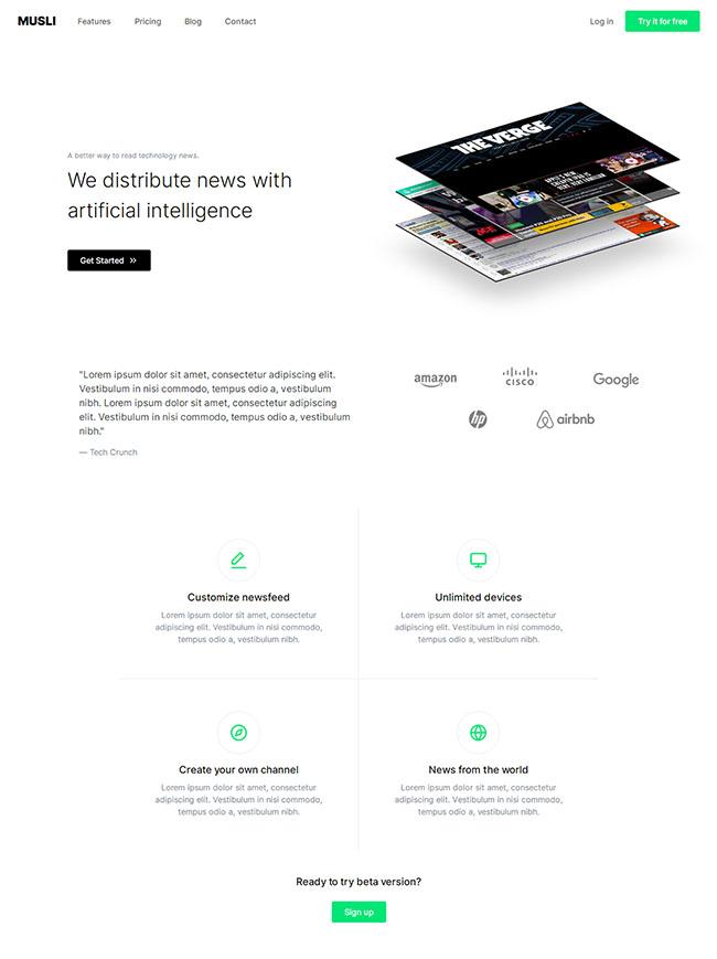 人工智能科技媒体网站模板