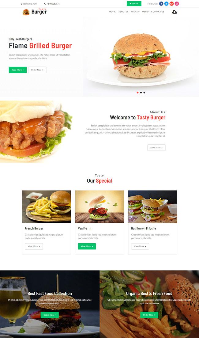 汉堡包西餐美食网站模板