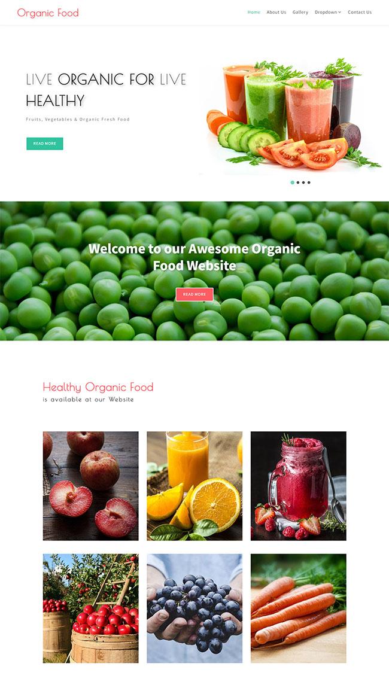 健康有机蔬菜果汁店网站模板