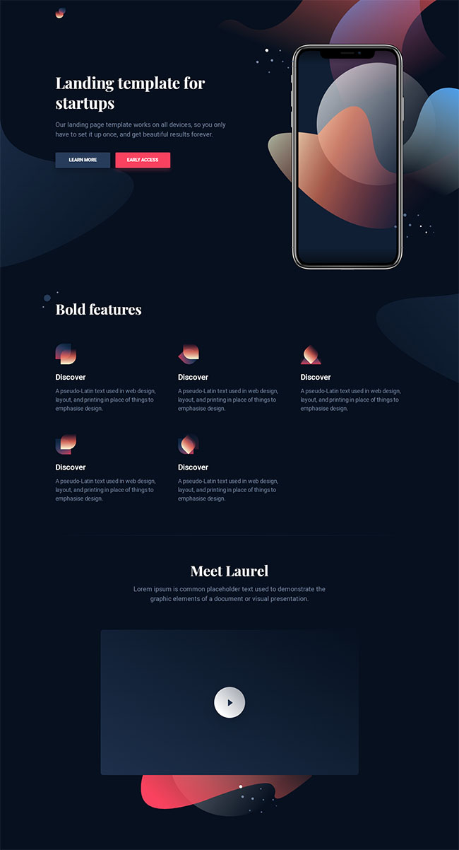 黑色设计感移动app官网模板