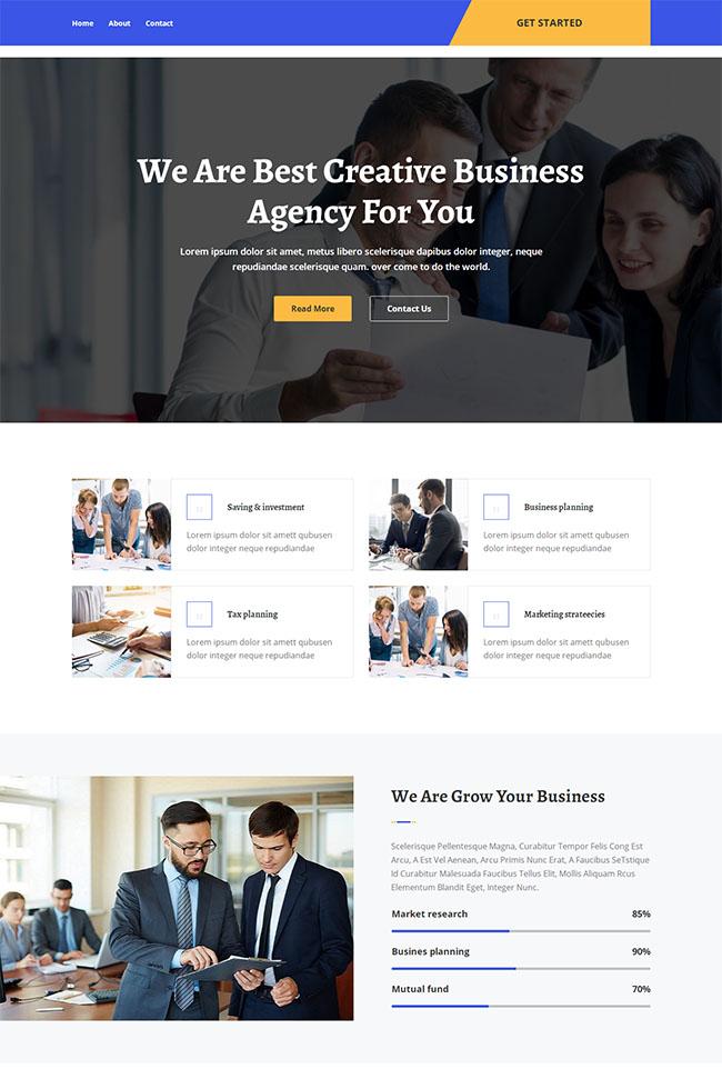 商业管理机构网站html5模板