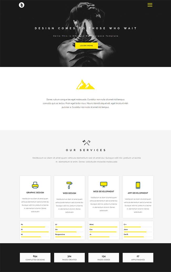 黄色设计公司网站模板