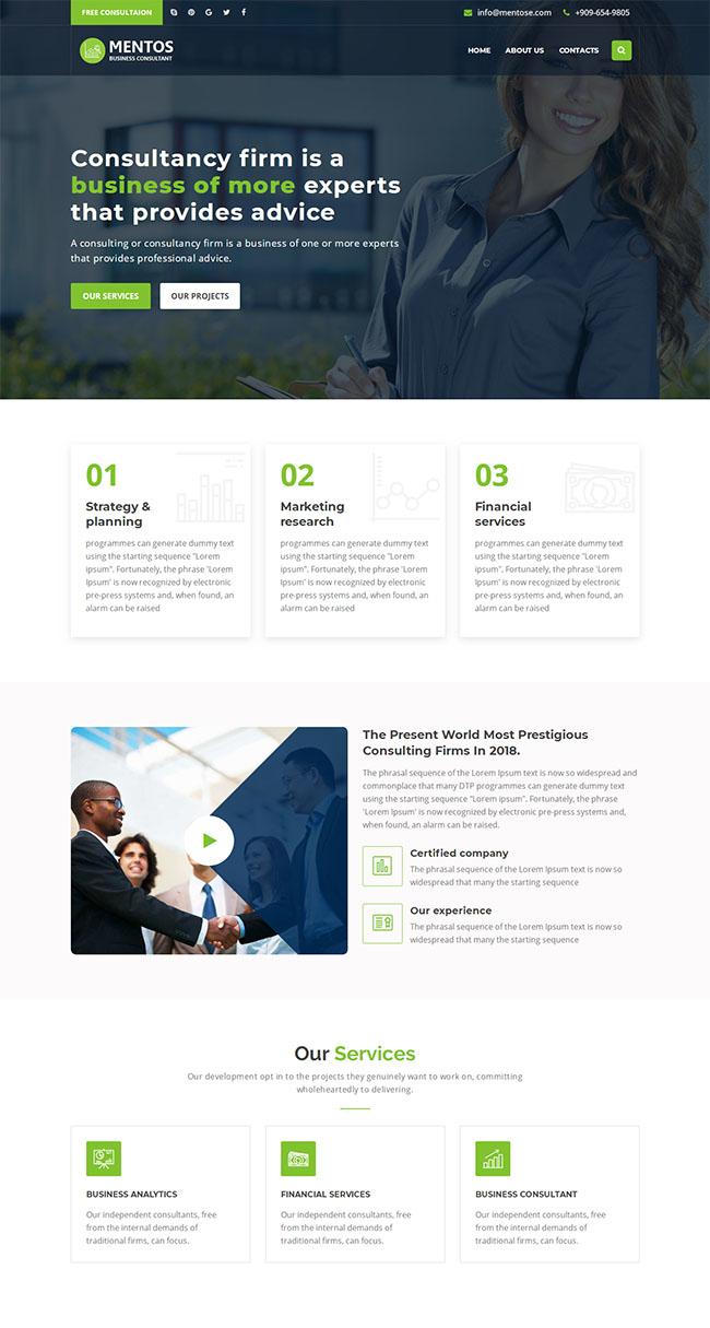 商业顾问咨询HTML5网站模板