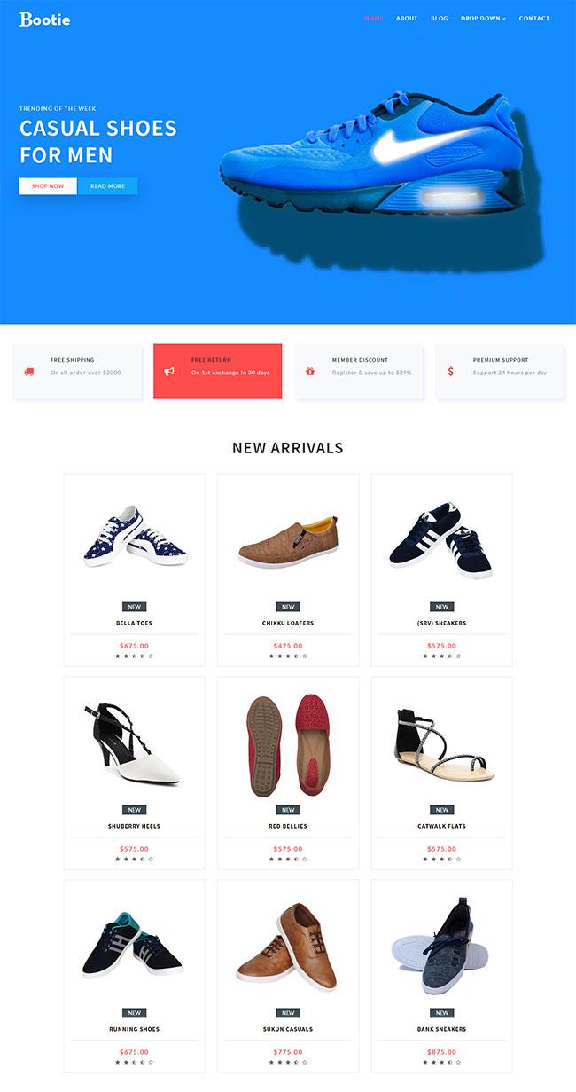 宽屏运动鞋商城网站模板