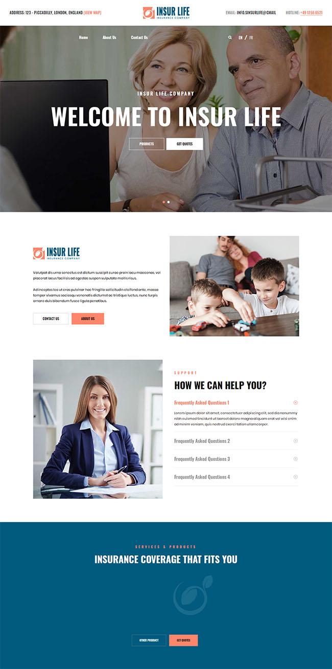国外保险服务公司网页模板