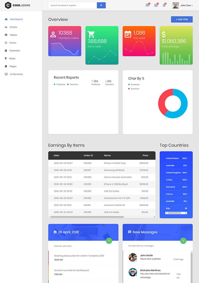 项目收益统计管理HTML5模板