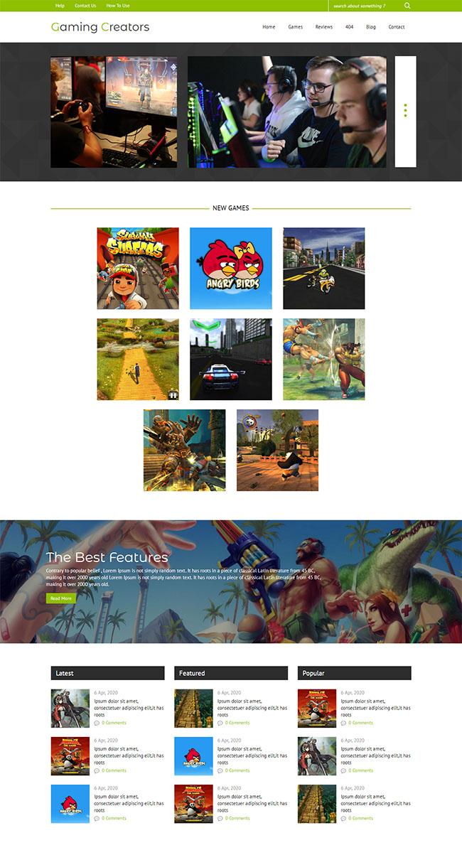 绿色游戏评测公司网站模板