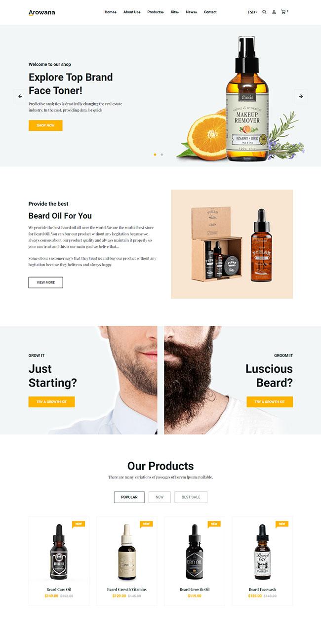 男性护肤产品HTML5网站模板