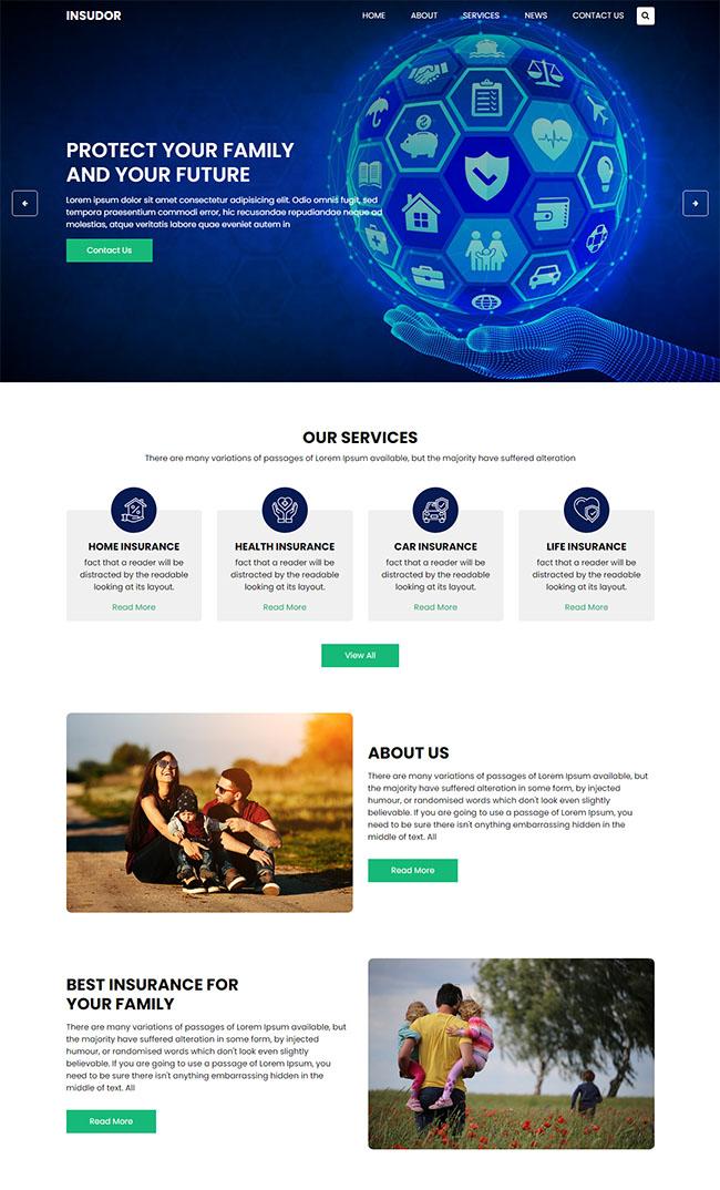健康保险企业HTML网站模板