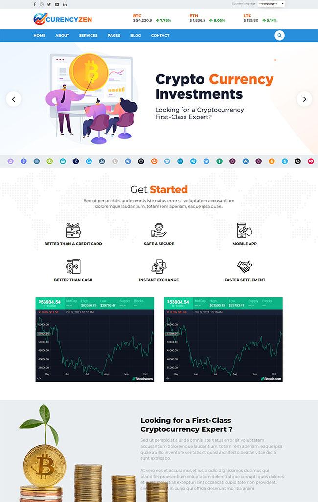 比特币加密货币网站HTML5模板