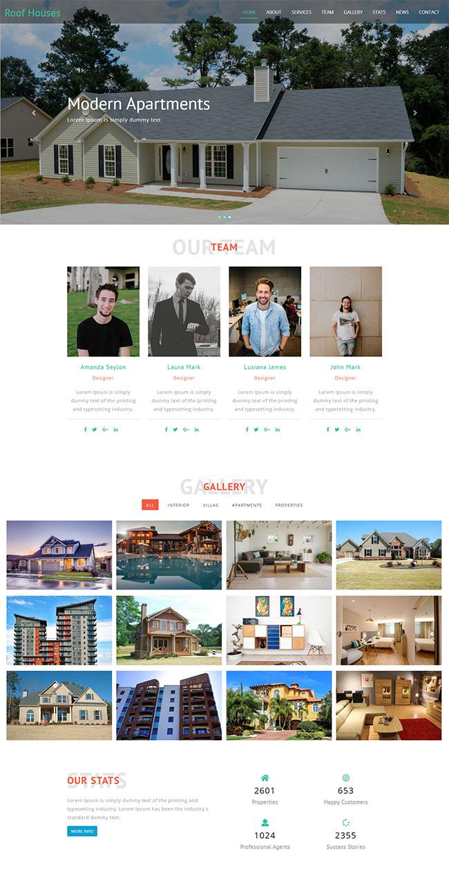 现代住宅房产公司网站模板