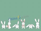 可愛白色小兔矢量素材