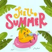 你好夏天矢量卡通海報