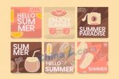 你好夏天矢量復古系列海報