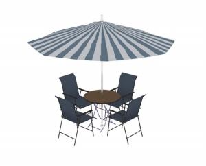 遮陽傘桌椅3D模型