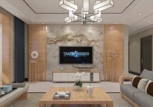 現代中式客廳家裝模型