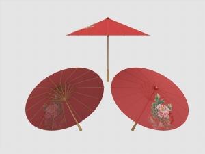 紅色油紙傘3D模型