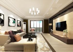 時尚現代客廳3D效果圖模型