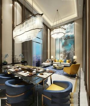 豪華別墅客廳餐廳室內設計
