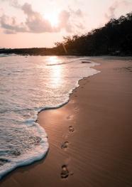 日落海邊沙灘風景圖片