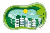 剪紙風生態城市矢量素材