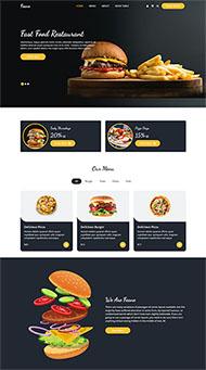 薯條漢堡西餐美食網站模板