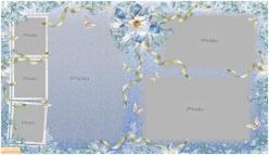 鮮花絲帶相框PSD素材