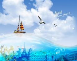 藍天海水背景PSD創意設計