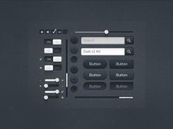 黑暗UI工具包PSD元素