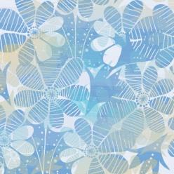 藍色小清新花朵背景素材