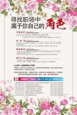 花卉邊框招聘海報