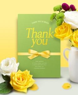玫瑰花裝飾感恩節海報