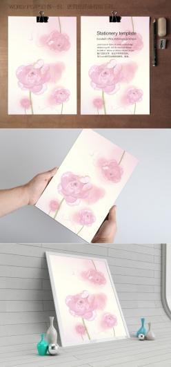 粉紅玫瑰花信紙