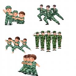 新生軍訓操練分層素材