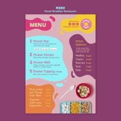 谷物早餐店特色菜單模板