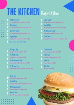 漢堡店菜單單頁設計模板