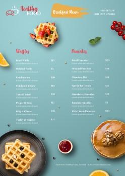 健康美食早餐店價目表模板