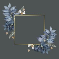 植物裝飾金色邊框PSD分層素材