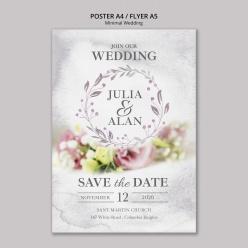 花卉邊框婚禮邀請卡psd模板