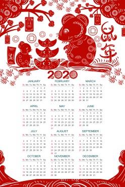 2020年鼠年全年日歷ps素材