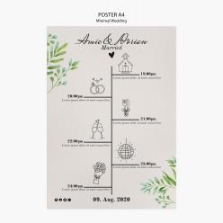 創意婚禮流程單PSD素材